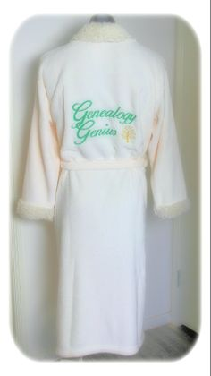 One of our super soft Sherpa robes with custom Embroidery.
