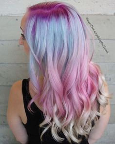 Purple and blue hair hair styles are all the rage, especially now when the hot season is approaching and we wish to experiment with the hair color. Vivid Hair Color, Cool Hair Color, Pastel Blue Hair, Pink Hair, White Hair, Glamour Fashion, High Fashion, Cotton Candy Hair, Mermaid Hair