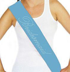 Tiffany Blue Cursive Bridesmaid Sash