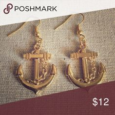 Nautical Goldtone Anchor Statement Earrings Brand New Unbranded Jewelry Earrings