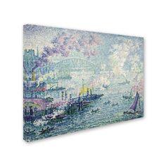 Trademark Fine Art 'The Port Of Rotterdam' Canvas Art by Paul Signac, Blue
