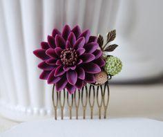 Large Plum Purple Chrysanthemum Flower Wedding Bridal Hair Comb.Plum Purple Flower Brass Leaf Collage Hair Comb. Bridal Purple Wedding by LeChaim on Etsy https://www.etsy.com/listing/152873610/large-plum-purple-chrysanthemum-flower