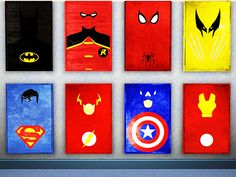 These minimalist Superhero posters look like they're hand-painted and would go great in any Man Cave. Superhero Poster, Superhero Room, Superhero Bathroom, The Sims, Sims 3, Geeks, Boy Room, Kids Room, Child's Room