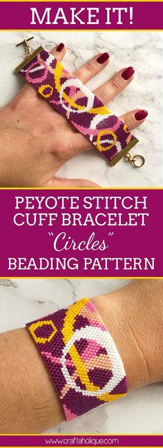 Circles Peyote Stitch Bracelet Pattern for Size 11/0 Miyuki