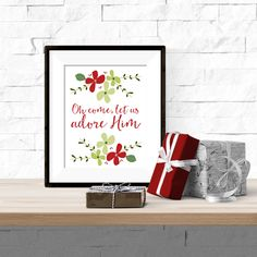 Oh Come Let Us Adore Him Christmas Floral  Winter Printable Artwork with Free Bonus Printable December Calendar - 8x10 Download by theorangeleaf on Etsy