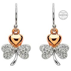 8d2a0bec6 Gold Plated Shamrock Earrings Encrusted With Swarovski Crystals. #Shanore  Express your Irish heritage with. Shanore Celtic Jewellery