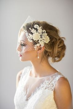 This inspired birdcage veil by PowderBlueBijoux, via etsy. in ivory corded lace with silver thread, pearls and tiny seed beads is perfect for the vintage bride. Small Intimate Wedding, Intimate Weddings, Small Weddings, Vintage Birdcage Veils, Short Veil, Veil Hairstyles, Wedding Veils, Wedding Garters, Wedding Dresses