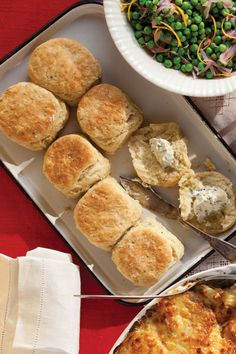 Instead of plain dinner rolls, we like to serve these fluffy biscuits, fragrant with rosemary and thyme. See the recipe »