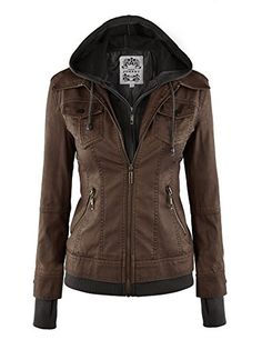 LL Womens 2-For-One Hooded Faux leather Jacket L COFFEE – Fashion Finds from Selena