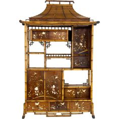 19th Century bamboo display cabinet with oriental panels (chinese)