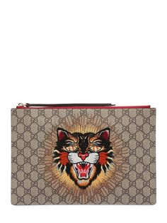 aa74da524ea GUCCI Angry Cat Patch Gg Supreme Pouch