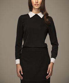 Look at this #zulilyfind! MISEBLA Black & White Collar Top by MISEBLA #zulilyfinds
