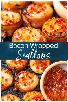 Bacon Wrapped Scallops are a delectable appetizer for any party or special occasion. They have a savory, buttery flavor, with a bit of spice thanks to the hot pepper jelly on top. This bacon wrapped scallops recipe is so easy, and so delicious! Appetizers For A Crowd, Seafood Appetizers, Seafood Recipes, Baked Stuffed Scallops Recipe, Hot Pepper Jelly, Bacon Wrapped Scallops, Scallop Recipes, Stuffed Hot Peppers, Finger Foods