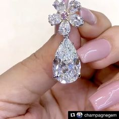 Mia Moon Jewellers. Via @champagnegem. Pearfection next level with @miamoon.jewellers high jewellery collection; a pair of pear-shaped diamond earrings with detachable flower set with pink diamond for #MyLoveAffairWithDiamonds!