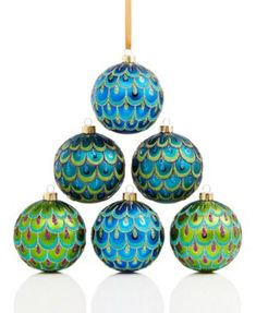 Holiday Lane Set of 6 Peacock Shatterproof Ornaments, Only at Macy's