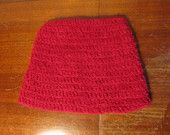 Fuzzy red crochet hat