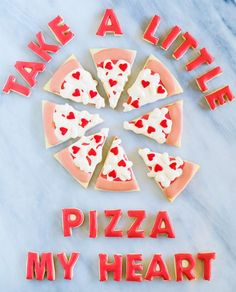 Pizza My Heart Valentine Cookies: The only thing that could make these pizza cookies better is if they came with a side of actual pizza. Forget a box of chocolates. Valentine's Day Cookies are what everyone really wants. Valentine Desserts, Valentines Day Cookies, Valentines Day Pizza, Valentines Day Treats, Valentine Ideas, Valentine Party, Birthday Cookies, Valentine Crafts, Holiday Crafts