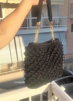 Ladies's bag, hand-made, Crochet  Bobble Stitch pattern Polyester Black Color