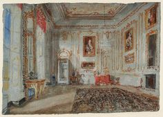 Joseph Mallord William Turner - The White and Gold Room (with Van Dyck Portraits) (1827)