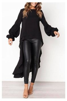 OFF Today!Round Neck Asymmetric Hem Plain Lantern Sleeve Blouses - OFF Today!Round Neck Asymmetric Hem Plain Lantern Sleeve Blouses Source by dorismgk - Mode Outfits, Fall Outfits, Casual Outfits, Fashion Outfits, Womens Fashion, Fashion Trends, Dress Fashion, Casual Shirt, Women's Casual