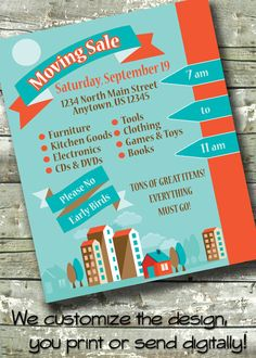 Moving Sale ~ Infographic ~ 5x7 Invite ~ 8.5x11 Flyer ~ 11x14 Poster ~ 300 dpi Digital Invitation by DitDitDigital on Etsy