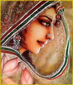 Beautiful Sri Radha. Again and again the Krsna-bee falls at the lotus feet of She whose face is like the moon.
