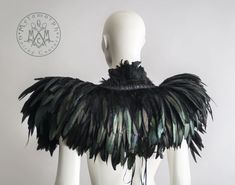 Feather capelet with high collar / Feather shoulder by MetamorphDK