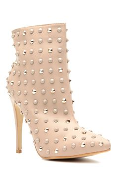 Women's Fashion High Heels :    These booties will be on your go-to list for Fall! They feature a faux leather material, studded detailing, Gold and Taupe hardware, pointed toe cut, side zipper for closure and cushioned insoles. Pair these booties with your fave dress set for the perfect... - #HighHeels https://youfashion.net/shoes/high-heels/trendy-womens-high-heels-these-booties-will-be-on-your-go-to-list-for-fall-they-feature-a-faux-leather-m/