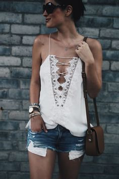 Cute white laced front blouse.