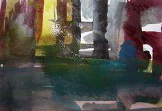 """""""Præstens Skov"""", min nabo. Der kan males igennem med akvarellen. Det behøver ikke være let og luftigt altsammen."""