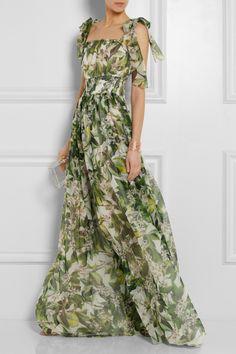 Dolce & Gabbana|Floral-print silk-chiffon gown