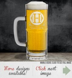Monogram Beer Glass Personalized Laser by EverythingEtchedAZ
