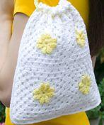 Daisy Drawstring Bag, crochet free pattern, PDF.