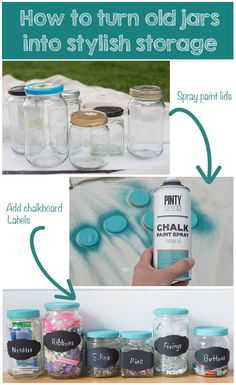 Upcycle project. How to makeover old food jars using chalk paint spray so that you can use them as storage