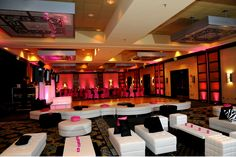 Lounge furniture with pink accents for the kid's area.  Dance themed bat mitzvah.  www.tottevents.com