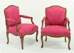 This pair of chairs were actually commissioned by Louis XV in 1762. This pair was part of a large furniture order for Versailles from the carver Nicolas-Quinbert Foliot that included 14 armchirs, 28 side chairs, 9 beds and 7 firescreens! The chairs are part of the collection at the Getty Museum.