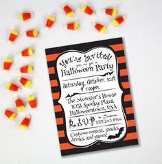 HALLOWEEN PARTY INVITATION Printable - Personalized Orange and Black Stripes Theme - Bat Clipart - Printable Halloween Invite - Downloadable
