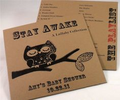 CD sleeves I had made for my daughter's Modern Owl themed baby shower.