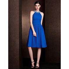 Lanting+Knee-length+Chiffon+/+Stretch+Satin+Bridesmaid+Dress+-+Royal+Blue+Plus+Sizes+/+Petite+A-line+Jewel+–+USD+$+79.99