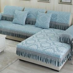 OstepDecor Multi-Size Winter Soft Quilted Sectional Armrest & Backrest Covers for Sofa, L. - Her Crochet Diy Sofa Cover, Couch Covers, Sofa Set Designs, Cushion Cover Designs, Bedroom Furniture, Home Furniture, Bedroom Decor, Style Salon, European Home Decor