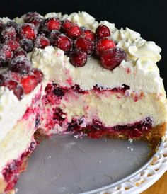 Christmas Cheesecake (Cranberry Jam White Chocolate Mousse Cheesecake) - Will Cook For Smiles Chocolate Mousse Cheesecake, White Chocolate Mousse, Vanilla Bean Cheesecake, Cheesecake Recipes, Cranberry Cheesecake, Chocolate Blanco, Mousse Cake, Cake Chocolate, Cookie Recipes