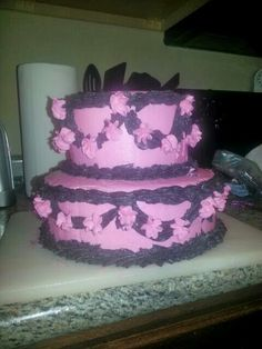 Pink and Black 2 Tier Cake