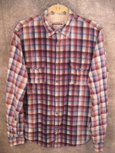Super-Bad-Shirt-L-Lrg-M-Med-Blu-Plaid-Snap-Closure-Pockets-L-Slv-Superbadshirt