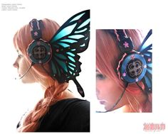 Butterfly Headphones, inspired b the Anime Magnet - by Lenore-Eeva-Leena