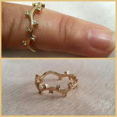 Gold Four Stone Band Dainty Gold Ring Minimal Ring Thin