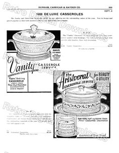 DIGITIZED Vintage Catalog Page of Vanity Aristocrat Casseroles for INSTANT DOWNLOAD, File Types: tif, jpeg, pdf, file #869 by… #deals