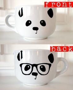 Panda Face / Nerdy Panda Ceramic Soup Mug by steppie on Etsy