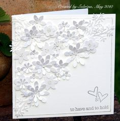 Wedding card using a variety of white punched flowers and leaves. Wedding card using a variety of wh Wedding Day Cards, Wedding Shower Cards, Wedding Cards Handmade, Wedding Anniversary Cards, Greeting Cards Handmade, Happy Anniversary, Engagement Cards, Engagement Session, Engagement Photos