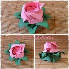 Cristiane Origamis: Eight-Point Star Box Origami And Kirigami, Origami Rose, Origami Flowers, Origami Art, Paper Flowers, Fabric Paper, Diy Paper, Paper Crafts, Origami Design