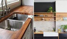 """Um dos maiores dilemas de quem está reformando e decorando a casa com certeza é sobre a escolha do tampo da pia da cozinha. Granito, Limestone, mármore, quartzo… as opções são muitas, mas se você costuma buscar referências na internet, sabe que elas não param por aí. Os tampos de madeira são uma novidade para … Continue lendo """"Tendência: Bancada de madeira na cozinha"""" Style At Home, Interior Decorating, Interior Design, Bath Caddy, Cabana, Kitchen Sink, Home And Family, Sweet Home, New Homes"""